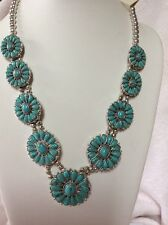 $44.50 Lucky Brand Statement Turquoise Flower Necklace O 120