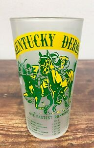 1955 Kentucky Derby Five Fastest Running Churchill Downs Frosted Libbey Glass!