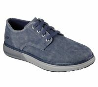 65371 Navy Skechers shoes Men Memory Foam Casual Comfort Soft Canvas Vintage New