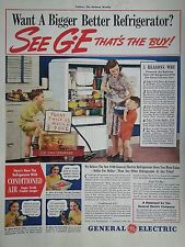 1940 General Electric Refrigerator Bigger Conditioned Air Red Wagon Children Ad