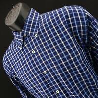 Men Peter Millar Crown Blue Plaids Oxford Golf Athletic Dress Shirt Size Large L