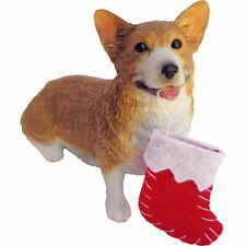 Sandicast Sitting Red Pembroke Welsh Corgi w/ Stocking Christmas Dog Ornament