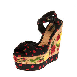 RRP €1590 DOLCE & GABBANA Ankle Strap Sandals EU 39 UK 6 US 9 Silk Blend Roses