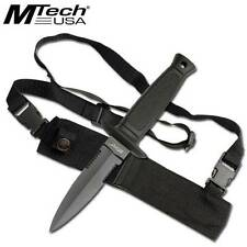 "MTech Fixed Blade Knife Hunting 8.5""  w/ Shoulder Strap Sheath Double Edge 493"