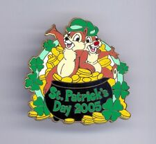 Disney Chip & Dale Green Bowler Hats with Pot of Gold St. Patrick's Day Cast Pin