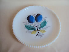 VINTAGE MILK GLASS HOBNAIL HAND PAINTED PLATE WITH GRAPES