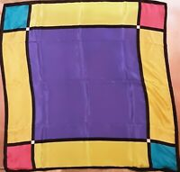Large 1970's Abstract Geometric Silk Scarf by Echo (32 x 32)