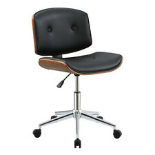Office Desk Chair Pu Leather Low Back Tufted Armless Swivel Task Chair Wheels