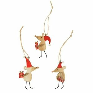 Sass & Belle Set of 3 Novelty Mice Hanging Christmas Tree Decorations