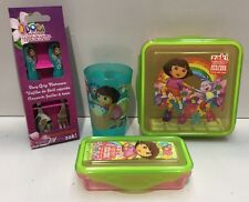 DORA THE EXPLORER KIDS SPOON & FORK CUTLERY SET / DRINKING CUP / SNACK BOXES