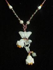 Elegant Adjustable Beaded Chain Jadeite Jade Butterfly Orchid Flower Necklace
