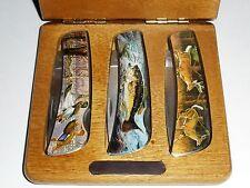 3 Folding Vanadium SS Knives Wooden Box Set Wildlife Scene Ducks, Deer, Fish