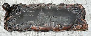 American Antique Tray Metal Art Nouveau WASHINGTON D.C. Picture Americana Rare
