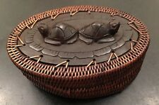 Artifacts Trading Company Rattan Covered Turtle Tortoise Trinket Box