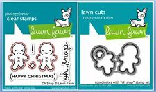 Lawn Fawn Photopolymer Clear Stamp & Die Combo~ OH SNAP Gingerbread ~LF983,LF984