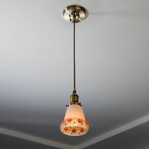 Pendant Ceiling Light Fixture Vintage Painted Glass Shade New Pendant Fixture