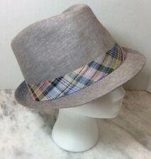 Men's Genuine Stetson cotton blend Fedora Hat Sm/Med Gray Plaid Band