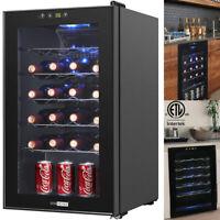 24 Bottles Wine Cooler Refrigerator Freestanding 29inch Under Counter ETL Listed