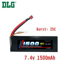 Genuine DLG RC Battery 7.4V 2S 15C 1500mAh Burst 25C Li-Po LiPo Dean's T plug