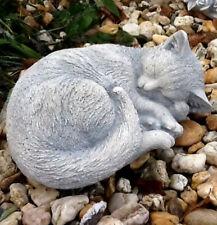 Gartenfiguren, Katze liegend, Steinguss, Statue, Tierfiguren, Tiere, Gartendeko
