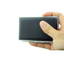 Small Black Pocket Leather Metal Tobacco 14Cigarette Smoke Case Holder Storage U