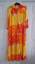 Vtg Butterfield 8 Nylon Hostess Dress Lounger Robe Red-Orange-Yellow-White M/L