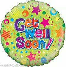 Holographic Get Well Soon 18'' (45cm) Foil Balloon Dots & Stars Design