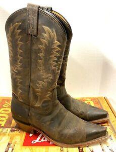 Women's Sz 8 Tony Lama Brown Goat Leather Snip Toe Cowboy Boots 1798-L USA made