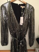MICHAEL KORS COLLECTION BLACK/SILVER  DRESS MIRROR DOT CROSS OVER LARGE RRP£225
