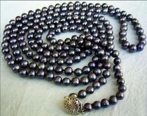 Long 50 inches 8-9mm Natural Black Akoya Cultured Pearl Jewelry Necklace AA+