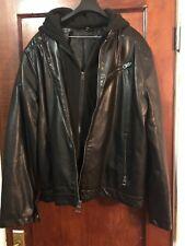 Guess Mens Leather Jacket - Detachable Hood