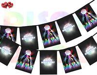 Dance Floor and Disco Ball Rectangular Happy Birthday Bunting Banner 12 flags
