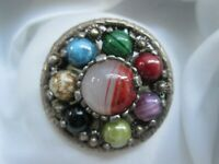 Vintage Miracle Britain Scottish Celtic Glass Silver Tone Pendant Brooch Pin