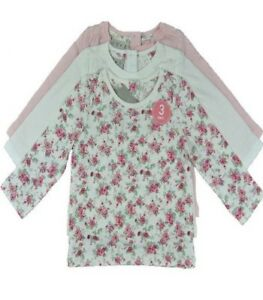 Ex Store Girls 3 Pack Pink Cream Floral Flower Tops Age 2/3 3/4 4/5 5/6 Years