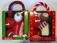 New box of Peanuts SNOOPY or RUDOLPH Reindeer Dog Toys 5 in each