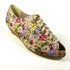 KALEIDOSCOPE Ladies Lace-up Wedge Heel Floral Peep-toe Shoes Size UK 4 EU 37