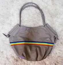 Extra Large Hobo Tote Shoulder Purse Zip Handbag Rainbow Gray Faux Leather