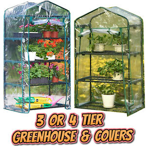 Garden Greenhouse 3 or 4 Tier | Complete Kits | Replacement Green House Covers
