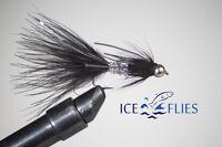 ICE FLIES. Streamer fly, animal bitter, rubber legs, Black. size 2 - 10 (3-pack)
