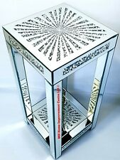Diamond Crush Sparkly Silver Mirrored End Side Table Tall 76cm Star Shine Design