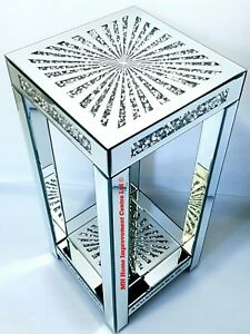 Diamond Crush Sparkly Silver Mirrored End Side Table Tall 76cm Star Shine
