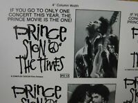 PRINCE SIGN O THE TIMES Movie Mini Ad Sheet Vintage Advertising Poster Film