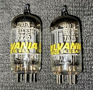 (2) Vintage Sylvania 12AX7/ECC83 / 7025 Audio Tubes, Tall Plates, Matched Codes.