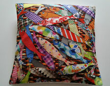 Nautical Patchwork Fish Cushion Cover Coastal Great Colours - Holiday Home
