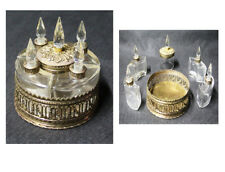 Very interesting antique brass & crystal perfume bottles & compact set all in 1