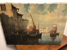 Venedig  Altes Ölgemälde auf Leinwand  von Heuser / München   ca, 70 x 50 cm