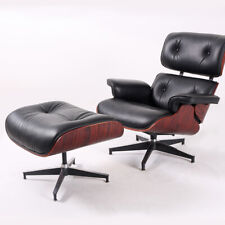100% Genuine Leather Eam-es Lounge Chair Ottoman Mid-Century Rosewood Black