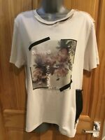 Cream Short Sleeve Topshop T Shirt Top - UK Size 10