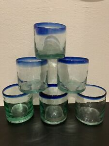 Recycled glass Mexican Blue Rim Tumblers Glasses x 6 Hand Blown Artisanal