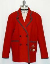 RED ~ WOOL German Women Winter LINED Walk Dress Sweater JACKET Over Coat 14 L